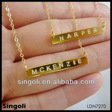 Delicate high quality monogram necklace tiny gold bar necklace pendant alphabets designs carve etter gold jewelry china factory