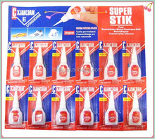 2015 hot selling cheaper price 3g 100% cyanoacrylate instant adhesive with 12pcs per card