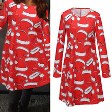 2015 Winter Fashion Christmas Hat Printed Women Ladies Long Sleeve Casual Straight vestidos Dress Plus Size