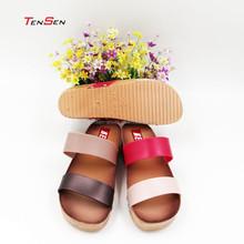 super polular classic two stripes belt bi-color mid high heel PVC blowing slipper for female