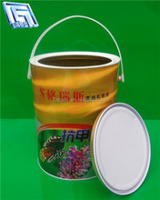 5L small sealed steel bucket for chemical coating with plastic handle