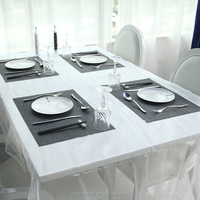 Soft white organza cheap party decoration western tablecloths