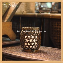 Bamboo Woven Lantern with Real Wax Flameless Candle, Handheld Lantern