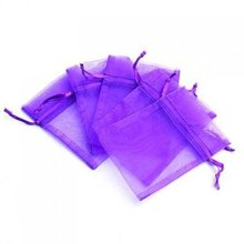 7cmX9cm 100Pcs/Lot Nice Purple Jewelry Pouchs Organza Portable Wedding Drawable Gift Packaging Bags