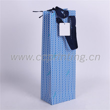 Elegant blue wine paper gift bag with Ribbon Supplier in China