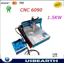 cnc 6090 router,drilling/milling machine, with 1.5KW water cooled spindle for large and hard material work