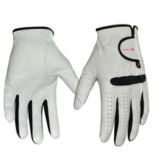 Small quatity custom leather golf gloves black lycra golf gloves velcro golf gloves