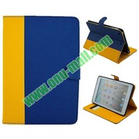 Double Color Cross Texture Leather Case for iPad Mini 2 with Card Slots