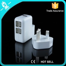 charger with 4 USB, UK standard charger, portable USB bulk usb charger
