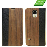Newest for Samsung S5 Wood Leather Case , Luxury Wood Wallet Case