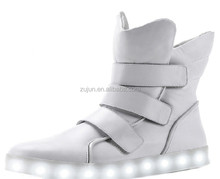 2016 Wholesale LED shoes men high collar shoes buckle strap fashion sneakers