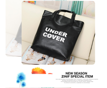 2015 new European and American fashion PU leisure shopping bag black/white shoulder bag UNDER COVER letter bags