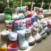 Cartoon pattern soft touch baby socks like shoe