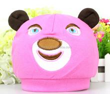 Cotton 2 layer new born baby cap, korean design tier cap with bear design, hot sale cotton hat for spring