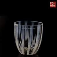 Promotional Cheap Handmade Drinking Glass with White Line Tableware