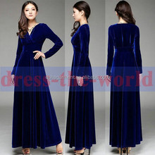 Sexy Women V Neck Autumn Gorgeous Velvet Long Sleeve Cocktail Party Maxi dress guangzhou China factory