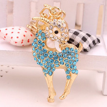 Cute sheep image keychain crystal keyring