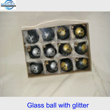 Set of 12 Halloween decoration glass balls w/ glitter gift pack