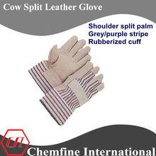 Gris/raya de color púrpura hombro dividir palma de la mano de goma del manguito de la vaca cuero partido guantes de trabajoen388