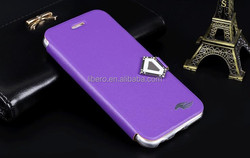 Luxury cover case For iphone 6 flip PU leather cell phone case