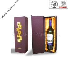 decorative paper wine bottle box with cardboard divider