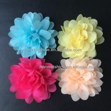 "Aqua/hot pink/yellow/peach 4"" chiffon flower,high quality cheap hair flower for baby girls"