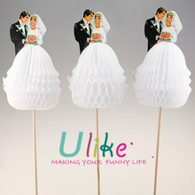 "popular ""Bride & Groom"" honeycomb cocktail sticks decorated table"
