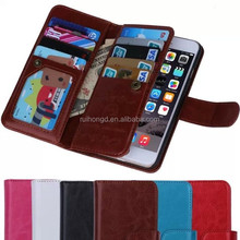 Luxury Dual Flip Detachable Wallet Stand Leather Case For iphone 6/For iphone 6 Plus