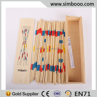 Wooden Box 41 PCS Mikado Spiel Pick Up Stick Game 26CM