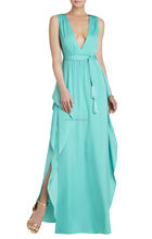 OEM Service Factory Price Wholesale Dresses Ladies Fashion Polyester Chiffon Open Leg Plain Dyed Sexy Sleeveless Evening Gown