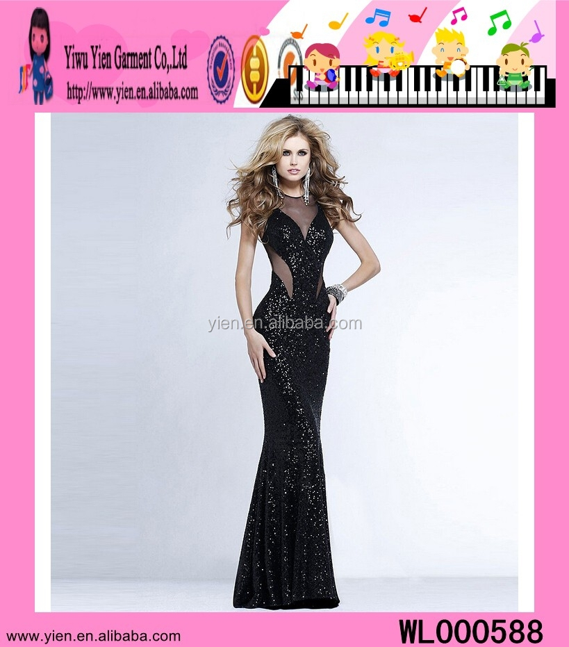 Europe Style Fashion Hot Sale Slim Party Dress Floor Length Big Ass Sexy Sequins Evening Dress