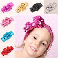 STOCK 2015 New Products Metallic Messy Bow Baby Girl Headband, Baby Headband