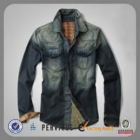 2014 new model mens latest design custom denim shirts wholesale