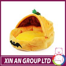 2014 new design yellow pumpkin shape plush dog cat beds for Hallowmas