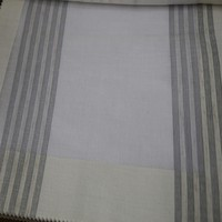 Wholesale hotel grey stripe white chiffon curtain fabric for ready eyelet drapery