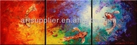 100% Handmade New Modern Abstract Vibrant Color Koi fish painting oils on canvas color 3 panels wall art