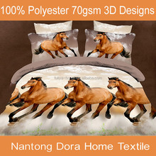 Animal horse printed double bed duvet cover set bedding sheet set 3D