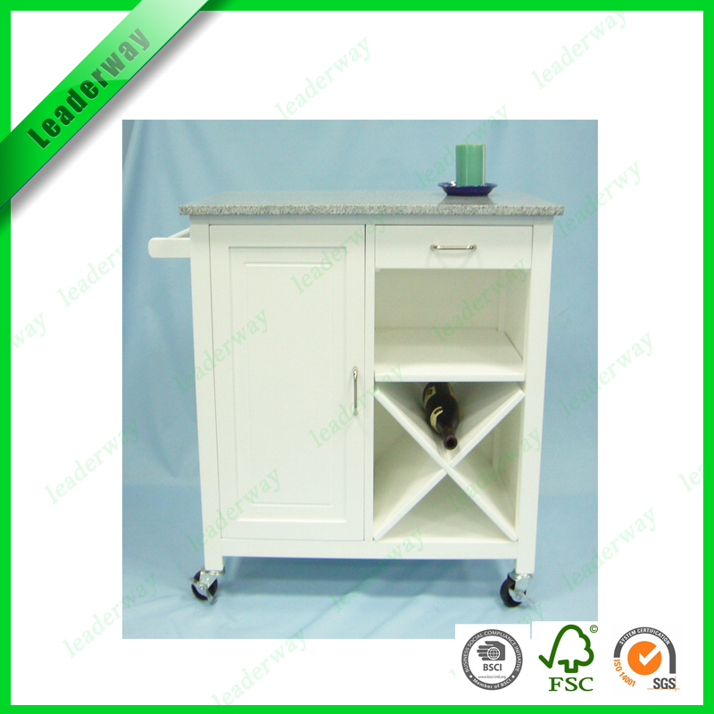 Hot Sale Wood Kitchen Service Cart With Wine Rack And