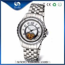 Latest fashion design skeleton automatic mechanical watches for ladies