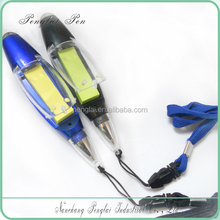 Cheap neck ball pen with led light/mini memo pen promotion