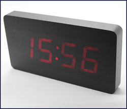 Digital display wooden mute clock, office led clock
