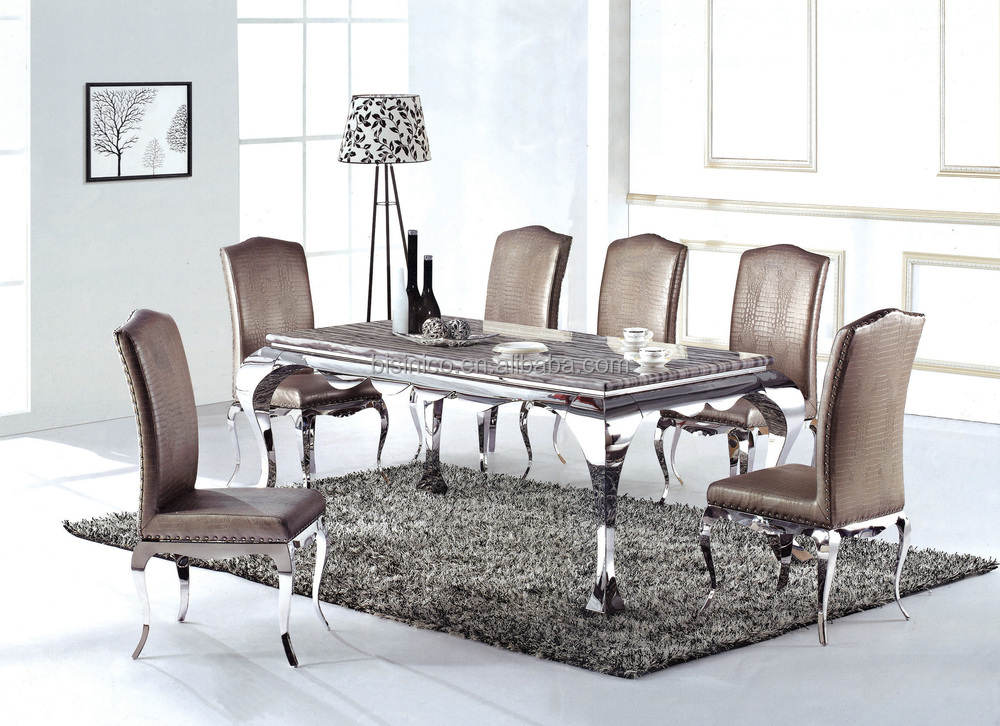 Champagne Gold 304 Stainless Steel Dining Table With Fabric Dining ...