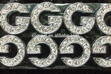 Best Quality Rhinestone 10mm Diamante Alphabet Slide Letters