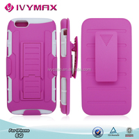 New product heavy duty hybrid combo cover for iphone6 G with kickstand and slide holster