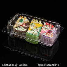 wholesale BOPS clear disposable plastic pastry food sushi folding packaging boxes with lock lid