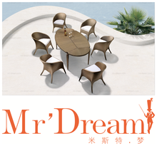 MR DREAM outdoor furniture, garden rattan furniture dinning table and chairs