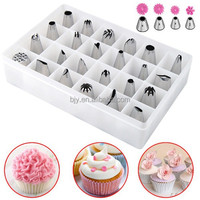 1 Set 24 Pcs Icing Piping Nozzles Pastry Tips Cupcake Sugarcraft Cake Decor Tool