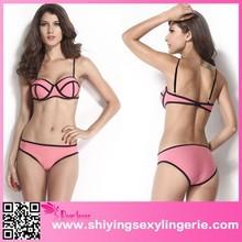 2015 Peach Neoprene bikini push up sexy women bandage bikini set swimwear