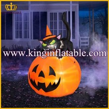 Backyard Lighted Halloween Inflatable, Inflatable Cat Pumpkin For Sale
