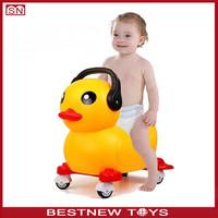 Funny yellow duck sliding baby walker car shape for kids